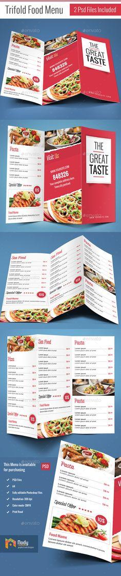 Trifold Food Menu Template #design Download: http://graphicriver.net/item/trifold-food-menu/10408831?ref=ksioks