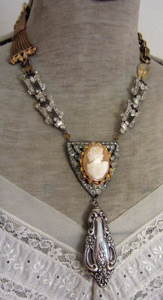 table manors  vintage assemblage necklace with by TheFrenchCircus, $182.00