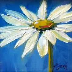 white daisy, original oil painting by Kim Myers Smith