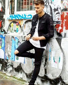 Josh cuthbert wearing liquor n poker ripped knee skinny jeans and distressed denim jacket