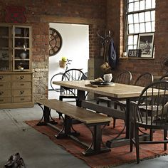 Warm colour pervades this distinctive dining range, thanks to the choice of complementary solid woods whose shades work together to pleasing effect. Chair backs and table supports provide curved counterpoints to the strong, sharp shapes of tops and seats. Timber Dining Table, Dining Room Chairs, Side Chairs, Bentwood Chairs, My Furniture, Furniture Inspiration, Interior Design, Chair Backs, Home Decor