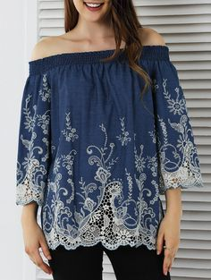 Blouses&Shirts | Sweet Off-The-Shoulder Lace Spliced Blouse #fashion #style #floral #blouse