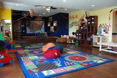 With a few changes, the kids school room and play room.