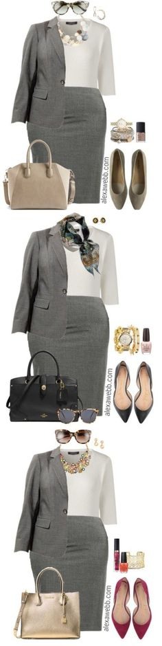 Plus Size Grey Suit Work Outfits - Plus Size Work Outfits - Plus Size Fashion for Women - alexawebb.com