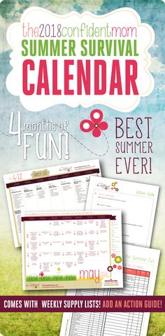 The 2014 Summer Survival Calendar includes everything you need to develop your summer goals, set a plan in motion, stay organized, and increase quality family time! Summer Activities For Kids, Summer Kids, Summer Of Love, Fun Activities, 2017 Summer, Summer Goals, Summer School, Summer Things, Outdoor Activities