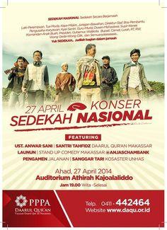 Makassar! Konser Sedekah Nasional oleh @DaarulQuranMKS_ bersama @launun besok 27 April 2014. Selengkapnya cek pict >>