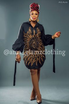Adure Over-Sized Bubble Sleeves Shirt Dress Ankara Short Gown Styles, Casual Dresses, Short Dresses, African Wear Dresses, Sexy Outfits, Print Fabrics, How To Wear, Conversation, Clothes