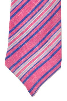 Kiton Ties at $285 SALE $99.96. Linen tie, summer collection in pink navy and blue striped design. Save an extra 35% off on linen Kiton ties.