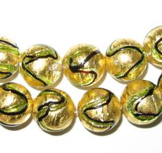 5ct Golden Foil Glass Beads Flat Round Gold 15mm x 9mm  Beading   Pinterest  Beads Rounding and Gold