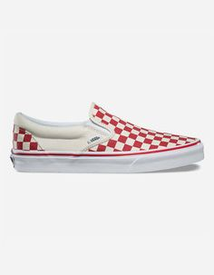 VANS Primary Check Slip-On Red   White Shoes Vans Classic Slip On 834a0f46f