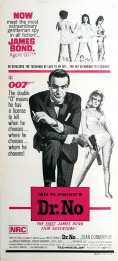 James Bond Dr No Australia, 1970s - original vintage movie poster for the Australian re-release of the classic British spy film James Bond Dr. No starring Sean Connery in the lead role as 007 with Ursula Andress, Joseph Wiseman, Jack Lord and Bernard Lee listed on AntikBar.co.uk