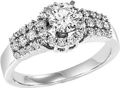 Brilliant cut halo engagement ring
