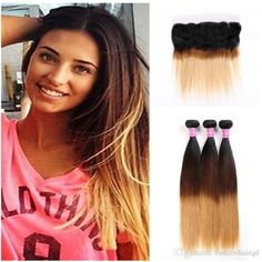 13*4 inch ombre lace frontal closure bundles T1b 4 27  From #fashionhairqd# DHgate.com