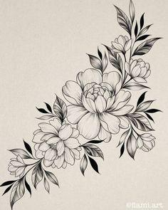 Floral Tattoo Design, Flower Tattoo Designs, Flower Tattoos, Fine Line Tattoos, Body Art Tattoos, Sleeve Tattoos, Tattoo Design Drawings, Tattoo Sketches, Vintage Rose Tattoos