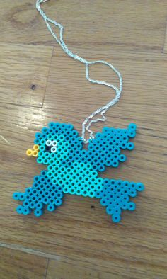Perler Bead Bird Necklace by RewrittenTime on Etsy You are in the right place about DIY Necklace rec Hama Beads Design, Diy Perler Beads, Perler Bead Art, Pearler Bead Patterns, Perler Patterns, Art Perle, Motifs Perler, 8bit Art, Peler Beads