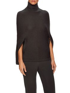 Wool Mock Neck Poncho from Halston Heritage on Gilt