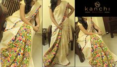Half and half onam saree with kutch work pleats.. Kanchi signature collection saree .. https://www.facebook.com/Kanchi-Signature-Collection-353807514697160/timeline/