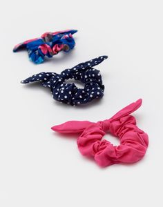 Scrunchie Blue Ditsy Set of Three , Size One Size | Joules UK