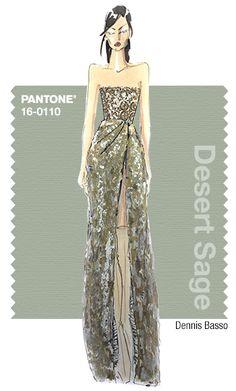 Dennis Basso in Pantone Desert Sage - FALL 2015 PANTONE's FashionColorReport