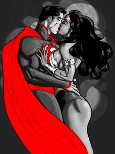 bloodr0se87: I really like this.. I wish I knew the artist was so I can give street cred lol Superman/Wonder Woman Kiss by TJ Frias aka Guinnessyde