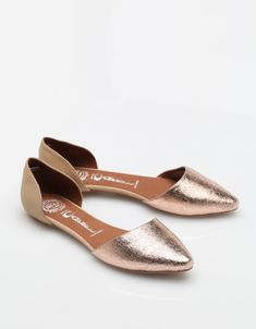 Jeffrey Campbell In Love Flats in Rose Gold / Nude (Need Supply, $90.00) - D'Orsay Flat, metallic, shiny, minimalistic, elegant.