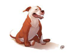 Dog Series- Pitbull by Elisa Kwon