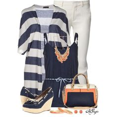"""""""Navy, Cream and Coral Style"""" by kginger on Polyvore"""