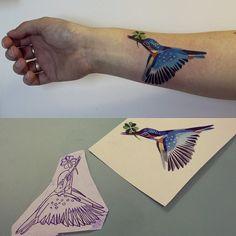 tattoo-colours: Humming Bird tattoo by Sasha Unisex