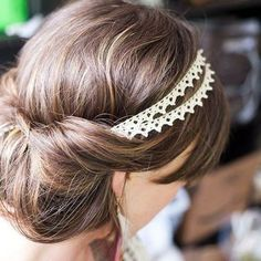 Updo with a double Strand Lace Head Band