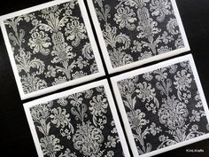Black and White Coasters Tile Coaster Coaster Tile by KimLKrafts