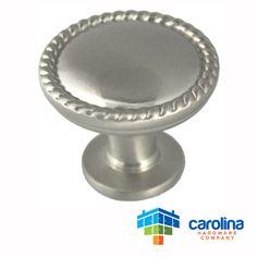 "Carolina Hardware Company Satin Nickel Cabinet Hardware Rope Scroll Knob 1-1/4"" Diameter"