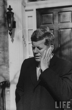 President-Elect John F. Kennedy at his home in Georgetown outside. Location:	MD, US Date taken:	November 1960 Photographer:	Bob Gomel
