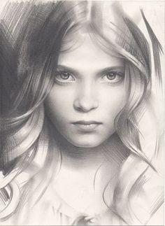 Portrait of a Girl - amazing #sketchbook #art by Andrey Belichenko