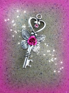 Crystal Flutter Fantasy Key Pink by ArtbyStarlaMoore on Etsy, $15.00