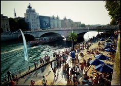 Paris Plage -For the Seine-Side Holiday in Paris Paris Summer, Water Activities, Paris Travel, Beach Fun, Urban Beaches, Landscape Design, Have Fun, Beautiful Places, Castle