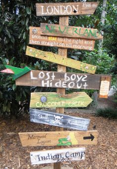 For a playroom    Customized Directional Sign Wooden Mile Marker by TheTrashySide, $22.00