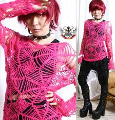 Refuse to be Usual Cyber Rave Mohair Punk Cobweb Crochet Knit Sweater Hot Pink. $42.00, via Etsy.