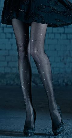 Polka Dots Print Sheer Tights Black & Silver Stones 1