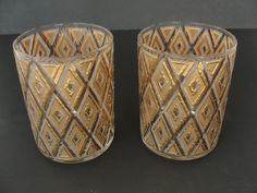 2 Vintage Heavily Gilded Mid Century Whiskey Glass Highball by marketsquareus on Etsy