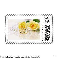 beautiful yellow roses &  wedding rings postage stamp