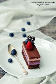 Cake with blueberry and raspberry mousse Entremet Recipe, Cake Receipe, Romanian Desserts, Eat This, Chocolate Mousse Cake, Eat Dessert First, Cake Shop, Homemade Chocolate, Sweet Cakes