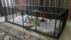 Dog Playpen - DIY Playpen Made from pvc pipes and netting. Threw in some old comforters for comfort and toys for hours of fun filled play. Inspired by a post my friend shared with me.