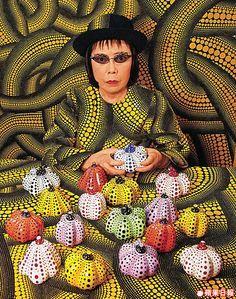 Yayoi Kusama with little dotted pumpkins