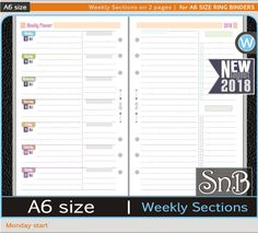 SnB A6 rings - Weekly Sections 2 pages - Monday - 2017 / 2018 - Printable Weekly inserts for Ring Binders by MarsiaBramucci on Etsy
