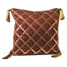 Mirabella Throw Pillow #HolidayDecor Burgundy And Gold, Gold Sequins, Metallic Thread, Decor Styles, Feather, Throw Pillows, Embroidery, Rugs, Sewing