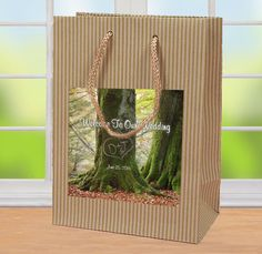 $50 for 20 Initials carved in tree #WelcomeBag #HospitalityBag #WeddingFavor Sturdy bag holds a couple standard #WaterBottles and a few snacks. by http://www.bestwelcomebags.com