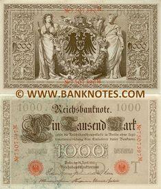 Germany 1000 Mark 1910  Obverse: Floral design columns; Reverse: Allegoric women: Navigation and Agriculture embracing German national arms.