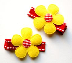 Red and Yellow Felt Flower Hair Clips