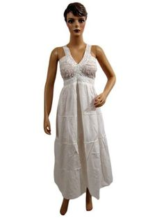 Womens Sundress White Crochet Strap Boho Dress Cotton Long Maxi Dress Mogul Interior, http://www.amazon.com/gp/product/B0099KNS9W/ref=cm_sw_r_pi_alp_UKuuqb055X5DQ
