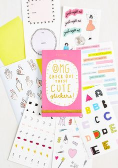 Need to spell it out on your scrapbook or add deets to your datebook? Then, this pink sticker book is a must-have! With stickies for every occasion including appointments, vacays, and OMG moments, as well as blank labels and to/from decals, these quirky seals add fun flair, everywhere!